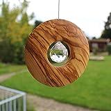 Fenster Deko zum Aufhängen | Holz mit Kristall 30mm Kreis | Sonnenfänger | Fensterdeko Geschenkidee