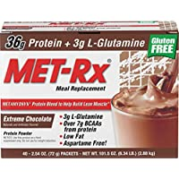 MetRX MET-Rx Meal Replacement powder boxed - Extreme Chocolate 40 -Count Packets Box