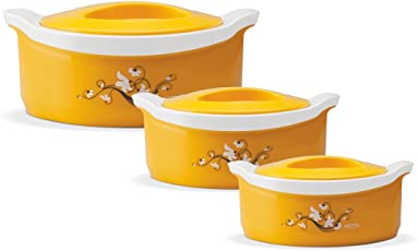 Milton Casserole Keeps Food Hot For Hours Insulated Yellow Marvel Casserole Gift Set Of 3Pcs (500,1000,1500Ml)