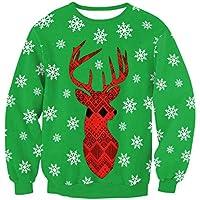 FOOBRTOPOO Novedad Navidad Sudadera Deportiva de Navidad Elk Print Pullover Otoño Invierno Cuello Redondo Outwear Tops Jerséis de Manga Larga Blusa -XL (Color : Red and Green, tamaño : XL)