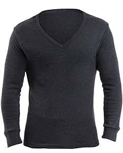 2 Mens Thermal Underwear V Neck Long Sleeve Vest