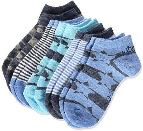 s.Oliver Socks Jungen Füßlinge Junior Fashion Sneaker 5p, 5er Pack, Blau (Aqua 97), 39/42 (Füßlinge Keine Aqua)