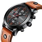 Chronograph Uhren Herren Luxusmarke Wasserdicht Sport Analog Quarzuhr Männer Edelstahl Business Mode Armbanduhr Mann Runde Schwarz Uhr (Orange)