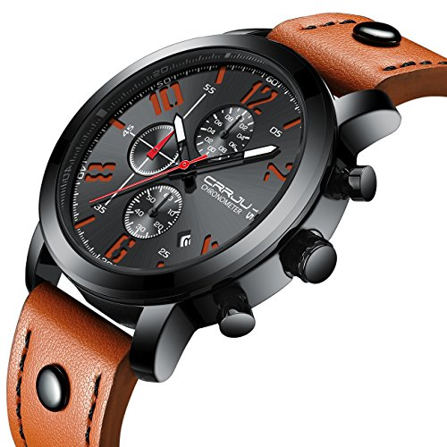 Herrenuhren Leder Analog Quarz Chronographenuhr Herren Datum Business Dress Armbanduhr Herren Wasserdichte Sportuhr