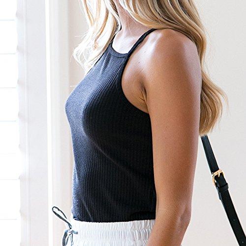 Vovotrade® Mode Féminine Tricot Coton Débardeur Sans Manches été T-shirt Tops Sexy Noir