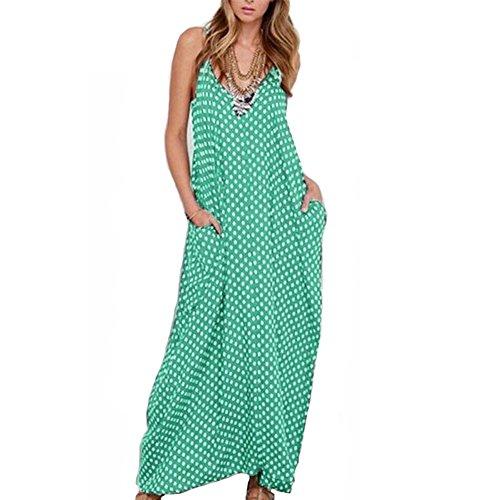 Romacci Women Casual Long Dress V-Neck Sleeveless Polka Dot Print Boho Long Maxi Dresses White/Black/Pink/Red/Green/Burgundy,S-6XL