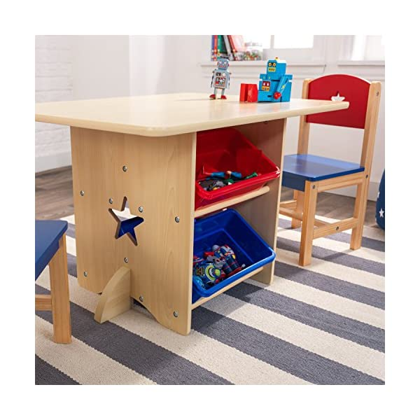 KidKraft 26912 Star Wooden Table & 2 Chair Set with storage bins, kids children's playroom / bedroom furniture - Red & Blue KidKraft Four convenient storage bins Bins can be reached from either side of table Star-shaped holes on table and chairs 10
