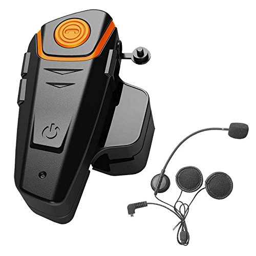 ENCHICAS 1x Intercomunicador Casco Moto Intercom Bluetooth Manos Libres Comunicaciones Interphone Headset Auriculares para Motocicleta (Radio/Música Del Teléfono/GPS/Alcance 1000M/Cargador Tipo U.E)