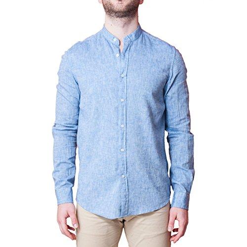Camicia uomo collo coreano lino elegante slim fit manica lunga sartoriale classica camicetta casual sotto giacca (xl, blu)