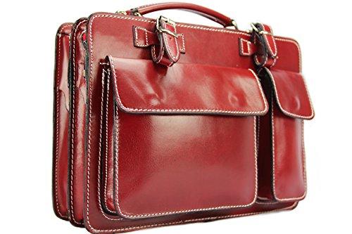 Luxus Aktentasche Aus Leder (Business- und Laptoptaschen Italienische Luxus Aktentasche M (Rot))