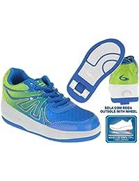 Beppi 2150840 - Zapatillas con ruedas para niño, color azul / verde