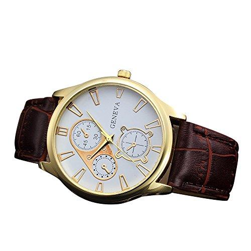 Männer Retro Goldrahmen Uhren Geschäft PU Leder Quarz Armbanduhr Analoger Runder Uhr (E)
