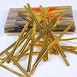 EDGEAM 800 Pièces 10cm Plastic Coated Fil Fer Twist Ties Pour Cuire le Pain Paquets de Bonbons Fil d'étanchéité (Doré)
