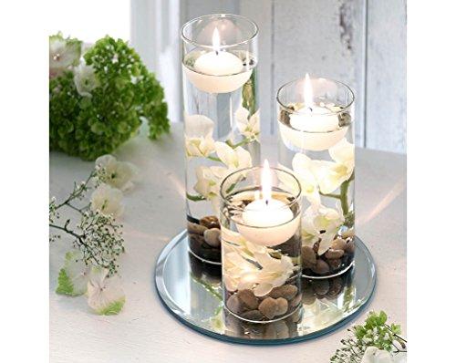 Set decorativo di tre candele galleggianti bianche in bicchieri alti di vetro, include sassolini e vassoio a specchio - bns gift uk
