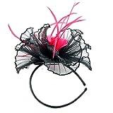 Newmarket Disc Sinamay & Fascinator dünner Fascinator auf Haarreif schwarz/Flamingo (b169fla)