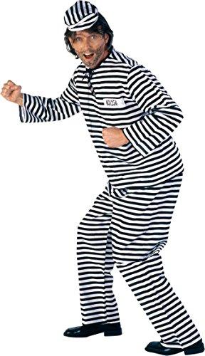 Sträfling Anzug in schwarz-weiß für Herren | Gr. 54 | 3-teiliges Sträfling Kostüm | Gefängnis Anzug Faschingskostüm für Männer | Sträfling Kostüm für Karneval