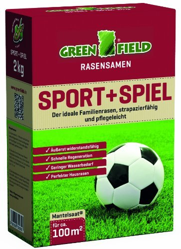 Greenfield 62121 Sport + Spiel 2 kg Rasensaat Rasensamen für ca. 100 qm