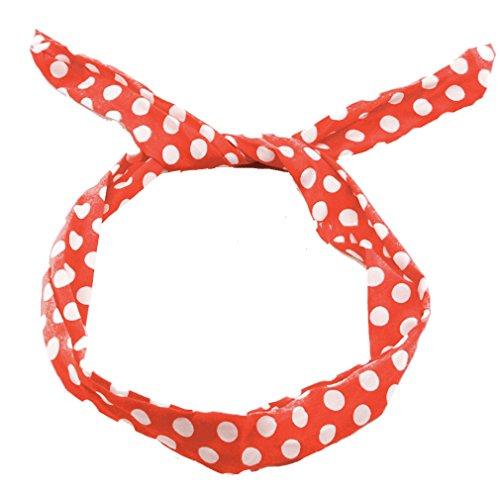 Zarlena Rockabilly Haarreif Haarband Polka Dots Hair Scarf 50's 50'er Rot / Weiss HB-1