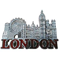 Argento e Rosso Skyline di Londra Magnete metallo Tower Bridge di Londra, Big Ben, Bus, (Red Curio)