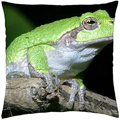 GRAY TREE FROG ON BRANCH - Throw Pillow Cover Case (16