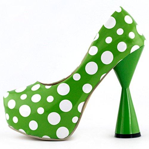 La pompa del partito Piattaforma Visualizza Story Sexy Spot pois punta chiusa tacco a cono, LF40802 Verde