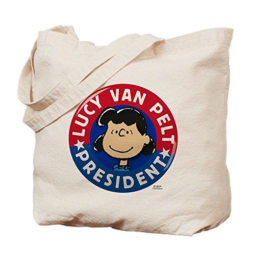 CafePress – Peanuts Lucy Président Naturel – Sac en toile, tissu, Sac de courses