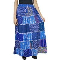 Women Maxi Flare Skirt Vintage Blue Patchwork Rayon A-Line Skirts S/M