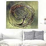 Grüne Spirale Baum des Lebens Wandteppich Indisch Mandala Wandbehang Frisch Blätter Natur Wanddecke Sonnenlicht Wandkunst Tapisserie Böhmisch Strandwurf Tischdecke Vorhang Bettdecke Weiß 59x51inch