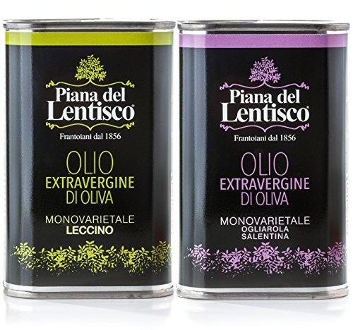 Olio extravergine di oliva novello 2017-100% italiano - 2 lattine da 500 ml monovarietali leccino e ogliarola salentina (spedizione gratuita in italia quantità x 4)