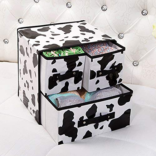 YXLZZO Faltbare Aufbewahrungsbox Aus Stoff. Unterwäsche Aufbewahrungsbox. Faltbare Schubladen-Aufbewahrungsbox (Color : Cow Pattern)