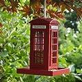 Garden mile® Unique Red Telephone Box Hanging Bird Feeder, Garden Bird Feeding Station Bird Table Bird Seed Feeder Or Nut Feeder Decorative Garden Ornament by Garden Mile®