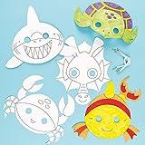 Baker Ross Caretas de animales marinos para colorear que los niños pueden decorar y usar como parte de un disfraz en una fiesta de disfraces (pack de 6).