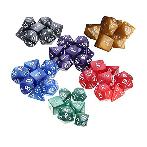 Wohlstand 42 pezzi dadi dungeons and dragons,dadi poliedrici che, dadi da gioco,d&d dadi poliedrici da gioco,6 set di d20, d12, 2 d10 (00-90 e 0-9), d8, d6