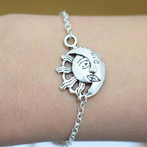 Silver Sun Moon bracciale, argento Sun Moon charm bracciale, regalo di compleanno, regalo, uso quotidiano regalo splendido braccialetto Best Friend Gifts elegante