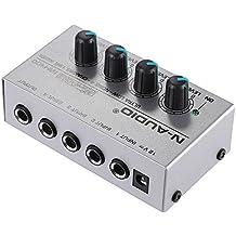 ammoon MX400 Ultra Compacto Ruido Bajo 4 Canales de Línea Mono Mezclador de Audio con Adaptador de Energía