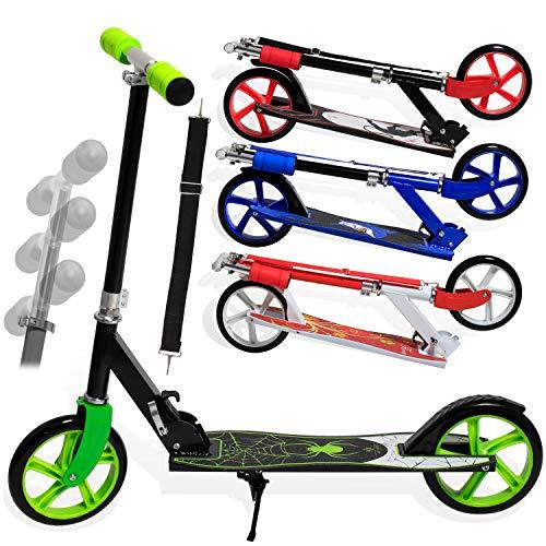 KESSER® Scooter Roller Kinderroller Cityroller Tretroller Kickroller Kickscooter, Design / Farbe: Spider (Green)