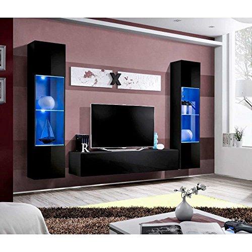 JUSThome AIR A III Wohnwand Anbauwand Schrankwand (HxBxT): 190x260x40 cm Schwarz Matt / Schwarz Hochglanz