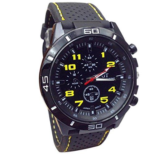 Hansee Uhr Herren, Uhren Herrenuhr Sportuhr armbanduhr herren Quarzuhr Männer Militäruhren Sport Armbanduhr Silikon Fashion (Gelb)