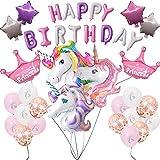 Ánimo Globo Unicornio para Fiesta,Paquete completo incluye Unicornio Grande x3 Corona Plus x2 Pelotas Unicornios x15 y Estrellas x4 con x13 Letras de Happy Birthday.Regalo Ideal para Decorar Un Cumple