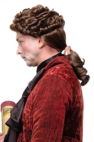 WIG ME UP - Qualitätsperücke Perücke Renaissance & Barock Adlige Edelmann Edelfrau Locken Braun Zopf GFW1617-10