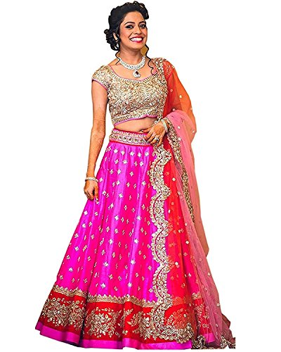 Dhruv Fab Women's Bangalore Silk Embroidered Lehenga Choli(BIND-PINK_Pink Color_Free Size)