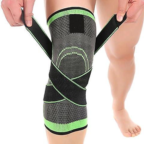 lokep confortable et respirant à manches genou de compression du genou, en tricot 3D, réglable sangles de compression, 1pièce pour hommes & femmes Formation Course à Pied Randonnée basket-ball de levage (Vert) M