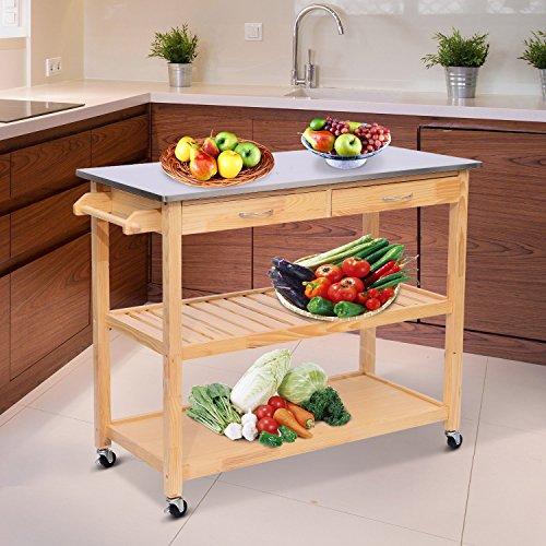 Homcom - Carrello di Servizio Scaffale da Cucina in Legno e Acciaio Inox con Ruote