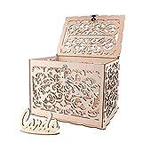 ANSUG Scatola per partecipazioni di Nozze in Legno, Soldi scatole Regalo in Legno con Serratura per Matrimoni Baby Shower - 30 x 24 x 21 cm