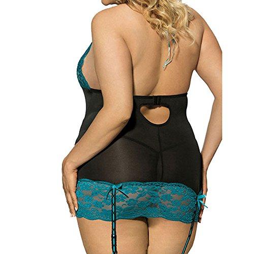 HCFKJ Dessous Damen Sexy Frauen Mode Reizvolle Spitze Unterwäsche Große Größen Uniform Versuchungs Reizwäsche Set Schwarz,XL - 3