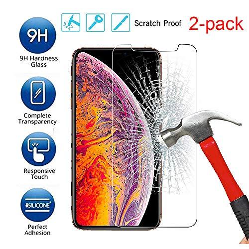 QINPIN 2 Stück gehärtetes Glas Displayschutzfolie für iPhone XS