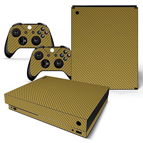 Preisvergleich Produktbild Deylaying Gold Carbon Faser Körper Wrap Schutzhüllen Sticker Aufkleber Skin Abziehbild für Microsoft Xbox One X Konsole and Controllers (2017 Veröffentlicht)