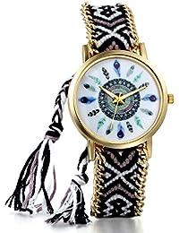 JewelryWe Boho Reloj De Pulsera Étnica De Mujeres, Negro Blanco Cuerda De Tela Tejida, Reloj Trenzado De Hilos Ajustable, Plumas Indigenas, Regalo Para Chica