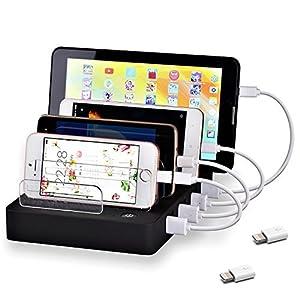 coffeesoft 8-Port Laden Station–Multiport USB Charging Dock für Jeden Smartphone Oder Tablet–50W Desktop Charging Stand Organizer für Mehrere Geräte Home & Trips
