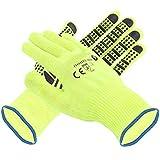 12 Paar Arbeitshandschuhe Schutzhandschuhe Baumwolle/Polyester Noppen Neon Größe 10 NEU